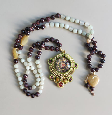 Smoky Quartz, Amazonite and Soutache Mala
