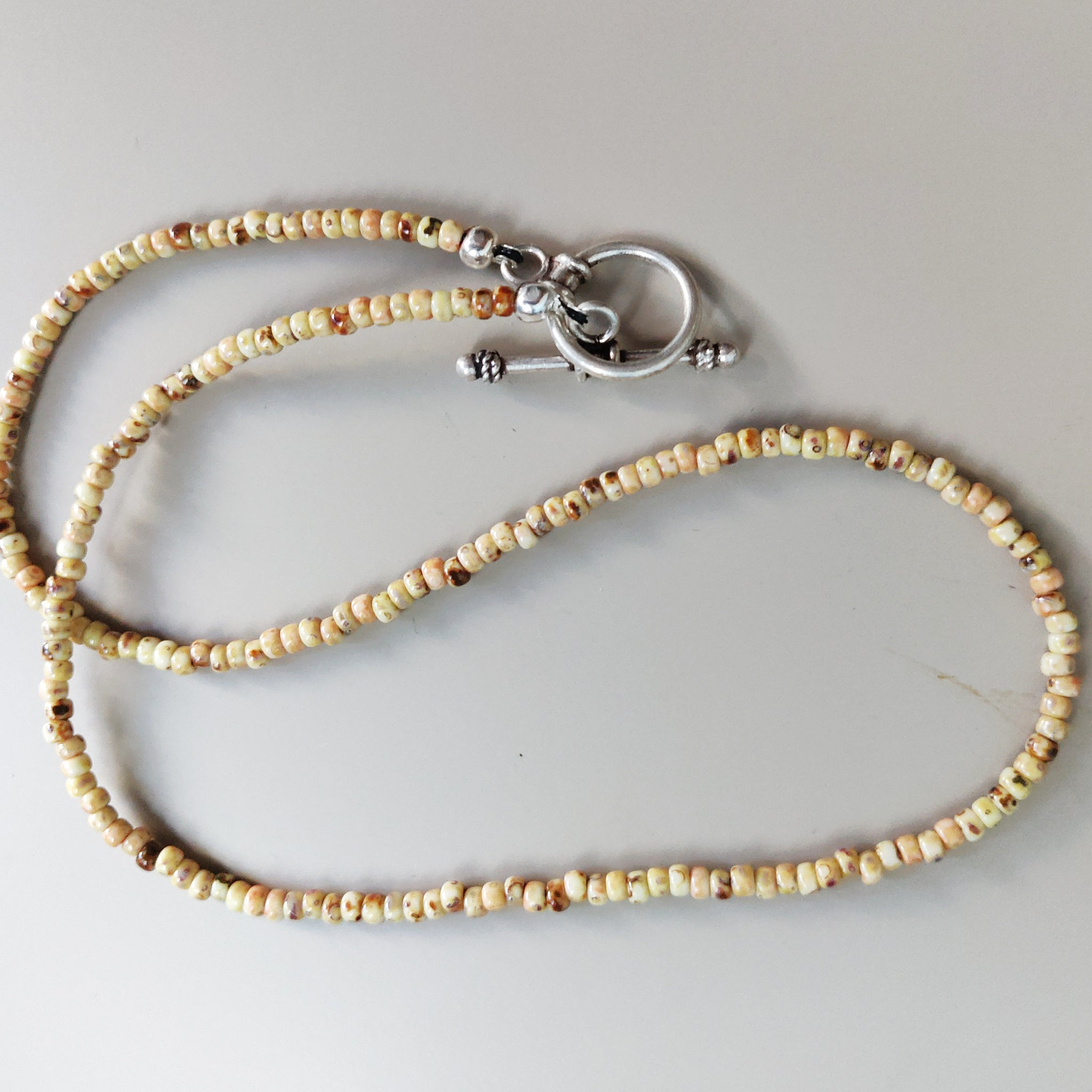 Seed Bead Inspiration Necklace in Brown and Tan
