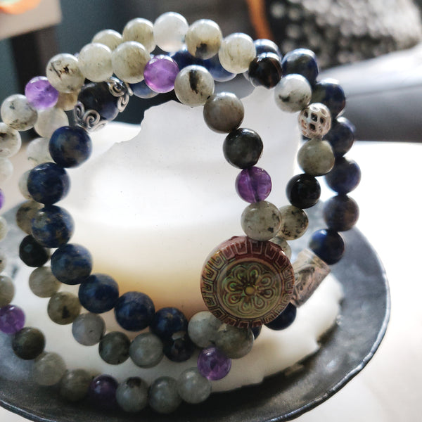 Labradorite and Purple Banded Agate Bracelet