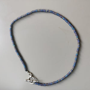 Iridescent Blue and Purple Seed Bead Inspiration Necklace