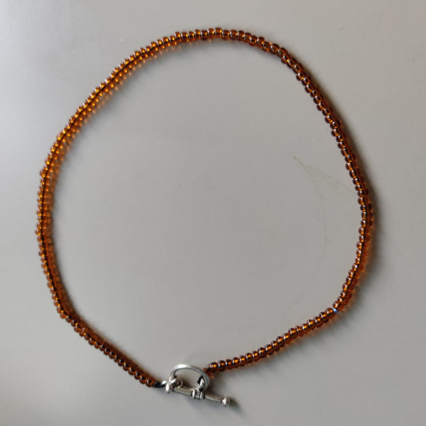 Seed Bead Inspiration Necklace in Golden Brown