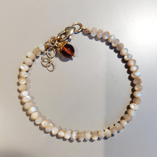 Cream Fire Polished Czech Bead Bracelet