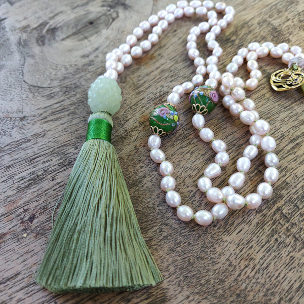 Green Temple Pearl Mala