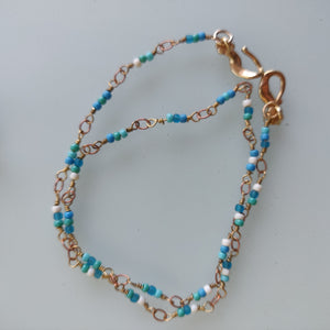 Double Blue Chain Bracelet