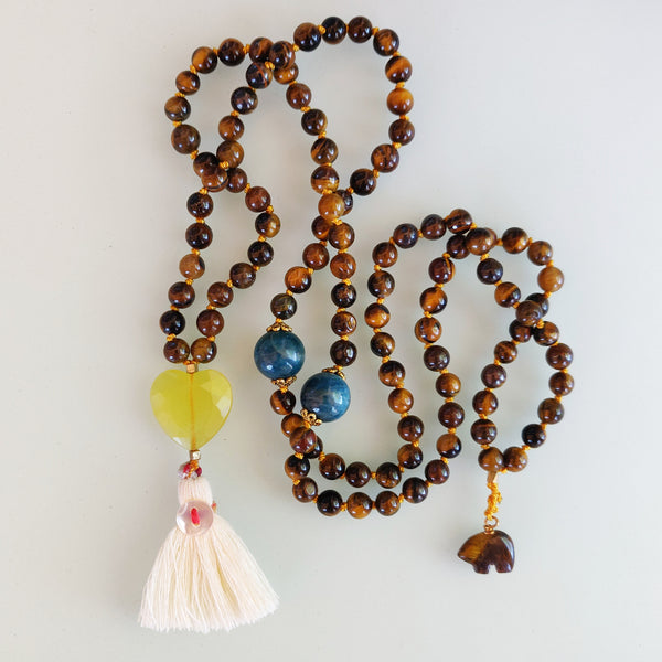 Tigers Eye and Citrine Heart Mala