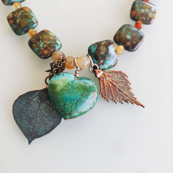 Turquoise Leaves Necklace