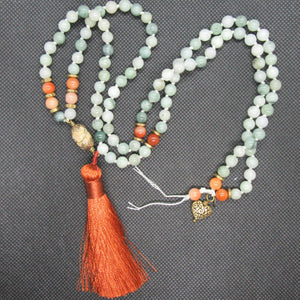 SOLD: Jade and Red Chalcedony with Brass Highlights
