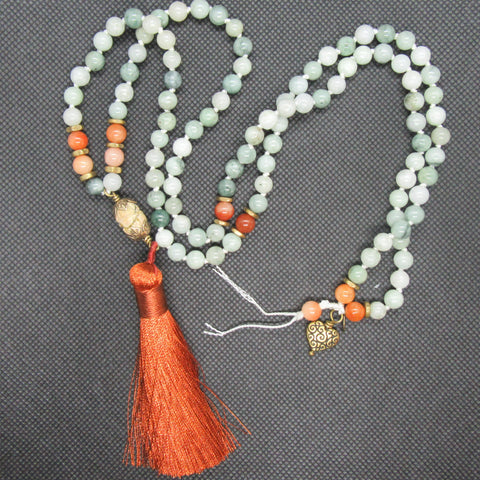 Jade and Red Chalcedony with Brass Highlights