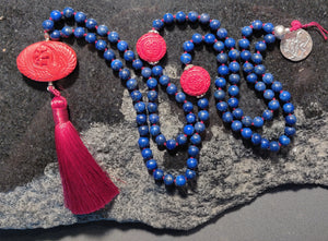 Lapis Mala with Cinnabar Highlights and Guru Bead