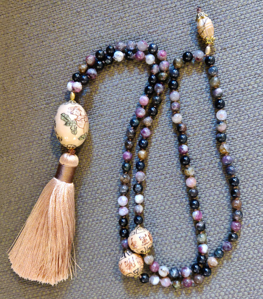 Tourmaline Mala with Ceramic Chinese Focal Beads