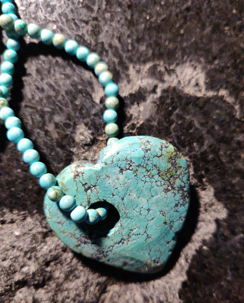 SOLD Inspiration Necklace: Turquoise beads and Heart with Green Girls Pewter Flying Heart