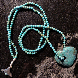 Inspiration Necklace: Turquoise beads and Heart with Green Girls Pewter Flying Heart