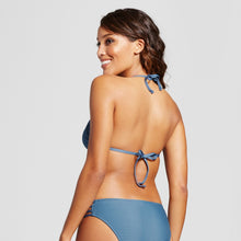 Load image into Gallery viewer, Mossimo Women's Ribbed Triangle Bikini Top | Medium | Airy Blue
