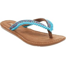 Load image into Gallery viewer, Turquoise Pom Pom Flip Flops | Alice | Mad Love by Steve Madden