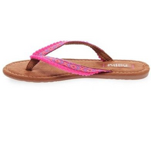 Load image into Gallery viewer, Pink Pom Pom Flip Flops | Alice | Mad Love by Steve Madden