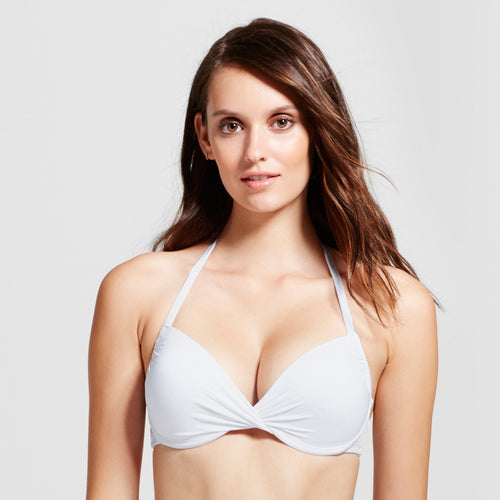 Mossimo Women's Push-Up Underwire Strappy Back Bikini Top Medium White