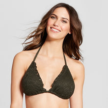 Load image into Gallery viewer, Mossimo Women's Crochet Triangle Bikini Top | Medium | Olive