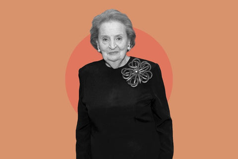 Madeleine Albright on pink background