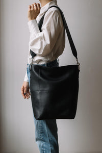 Leather strap for Meletti bag in Black