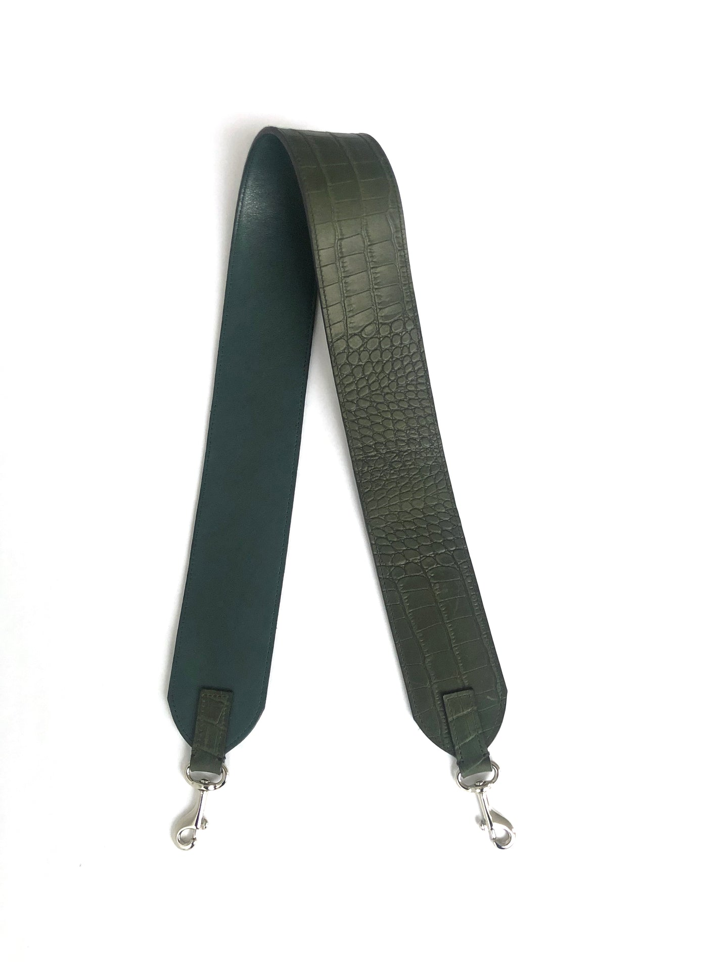 Leather strap for Meletti bag in Croco Green