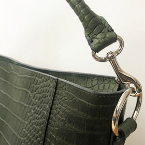 Meletti Croco Green hand tacked