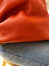 Load image into Gallery viewer, The Meletti soft leather shoulder bag in Mandarin Orange