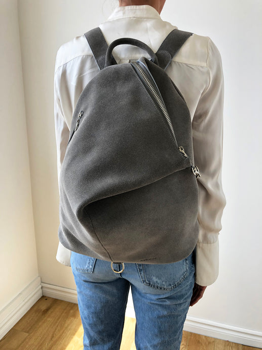 The Mercato Backpack in Soft Grey Suede