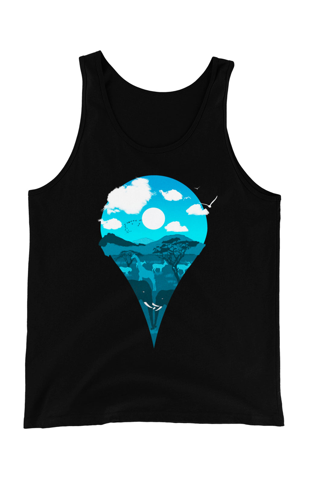 Location Marker Unisex Tank Top (Night)