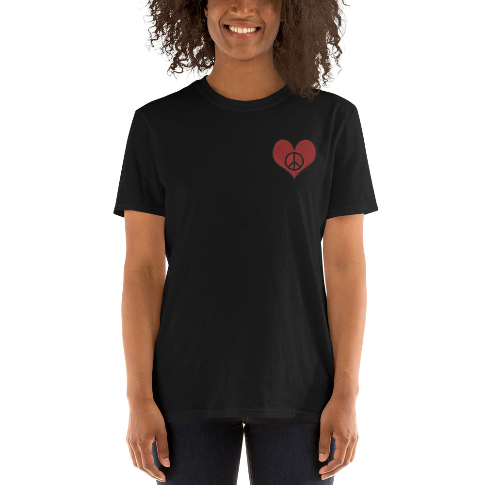 Black Love & Peace Embroidered T-Shirt for Women