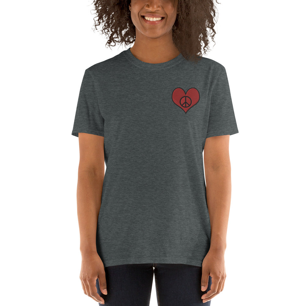 Dark Slate Gray Love & Peace Embroidered T-Shirt for Women