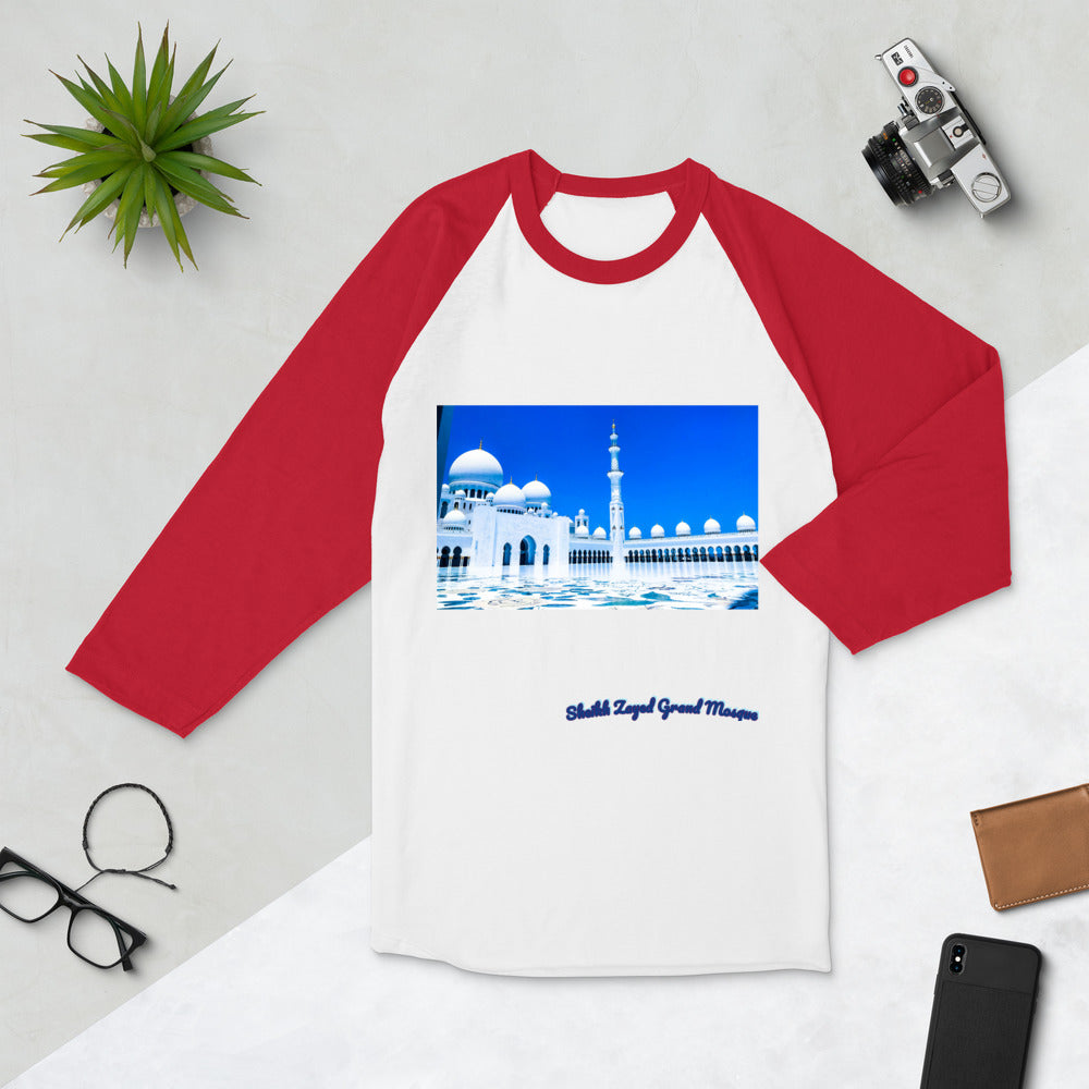 Firebrick Men's Sheikh Zayed Grand Mosque 3/4 Sleeve Raglan Shirt