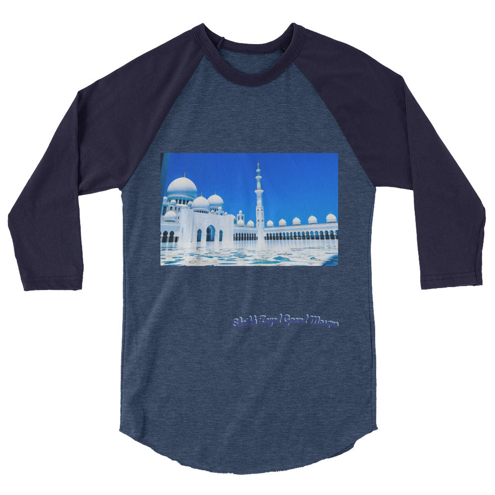 Dark Slate Gray Men's Sheikh Zayed Grand Mosque 3/4 Sleeve Raglan Shirt