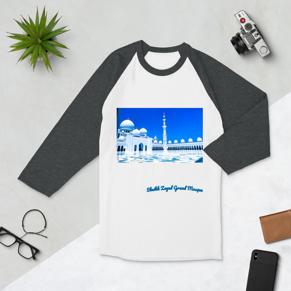 Dodger Blue Women's Sheikh Zayed Grand Mosque 3/4 Sleeve Raglan Shirt
