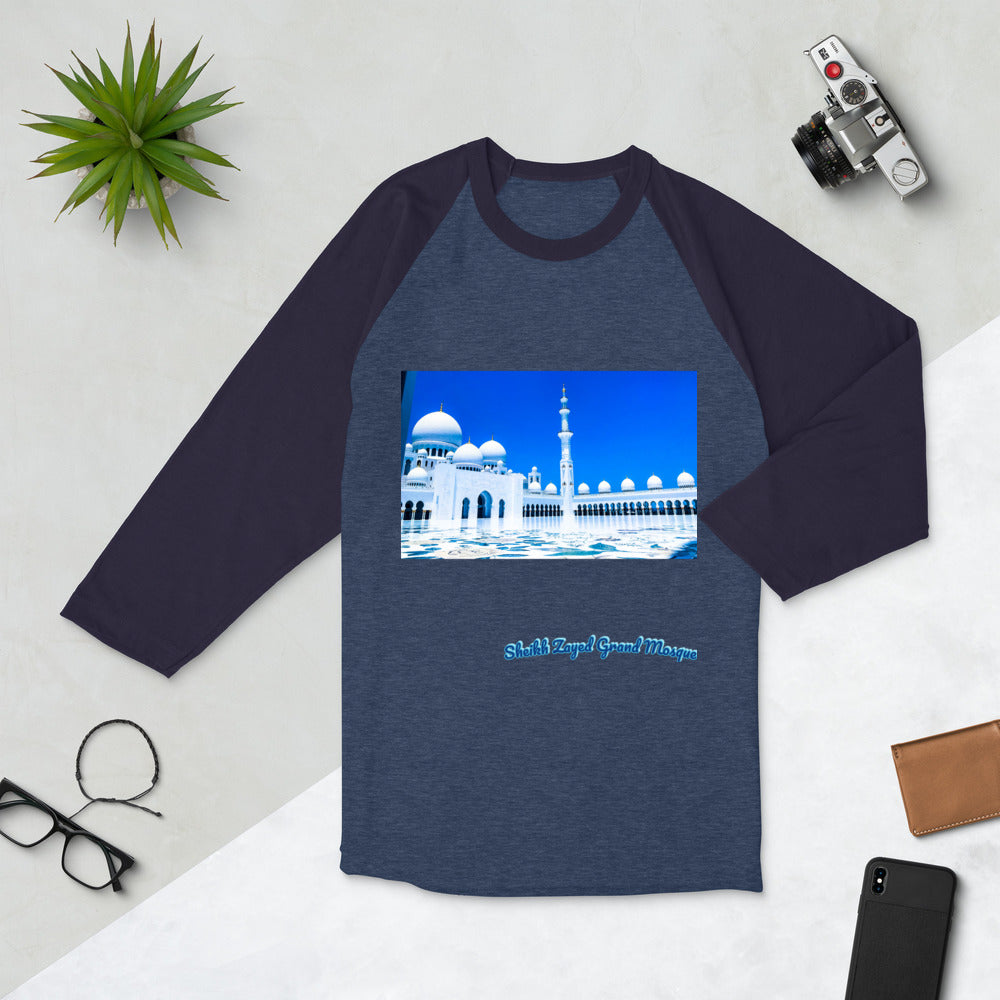 Dark Slate Gray Women's Sheikh Zayed Grand Mosque 3/4 Sleeve Raglan Shirt