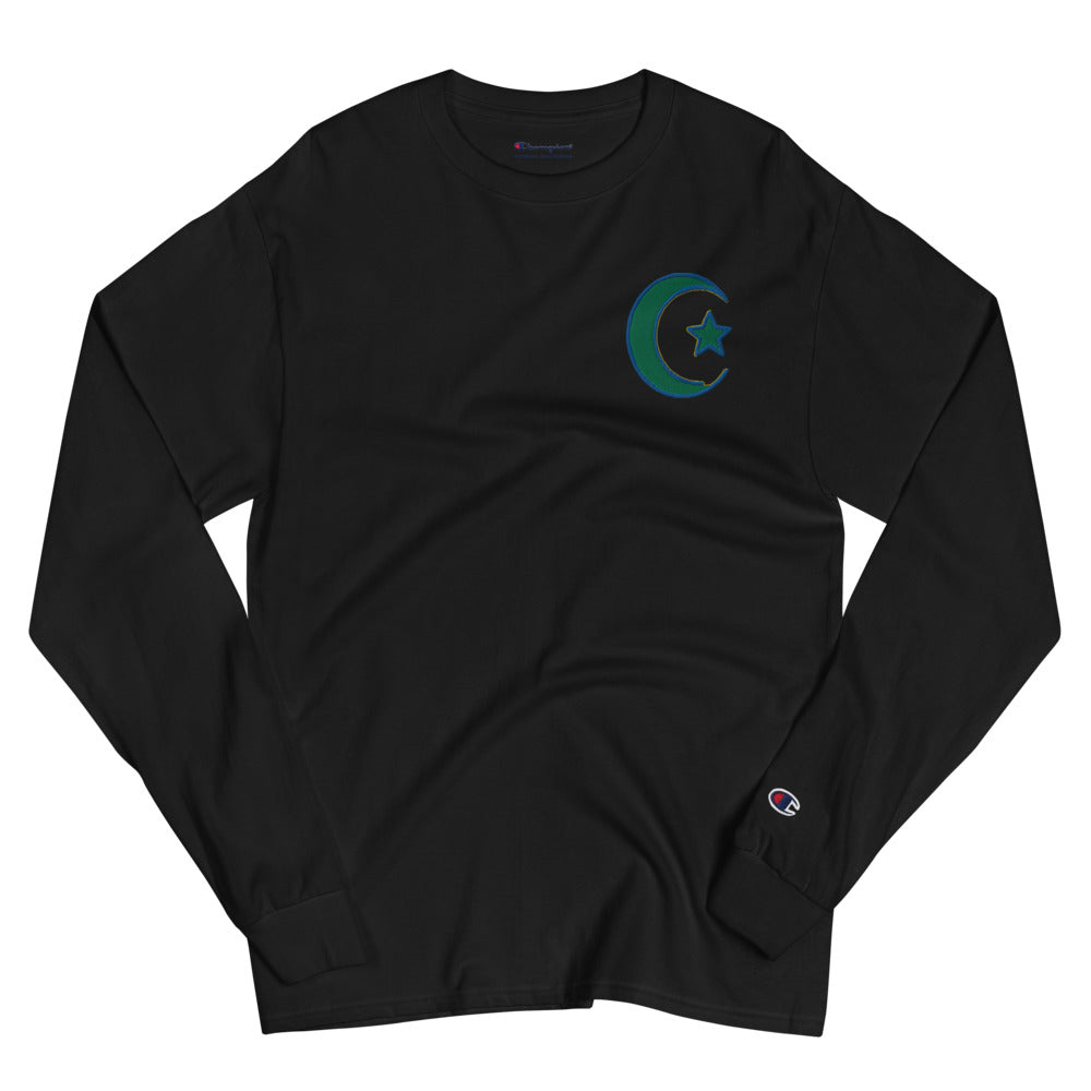 Black Men's Islamic Symbol Embroidered Champion Long Sleeve Shirt