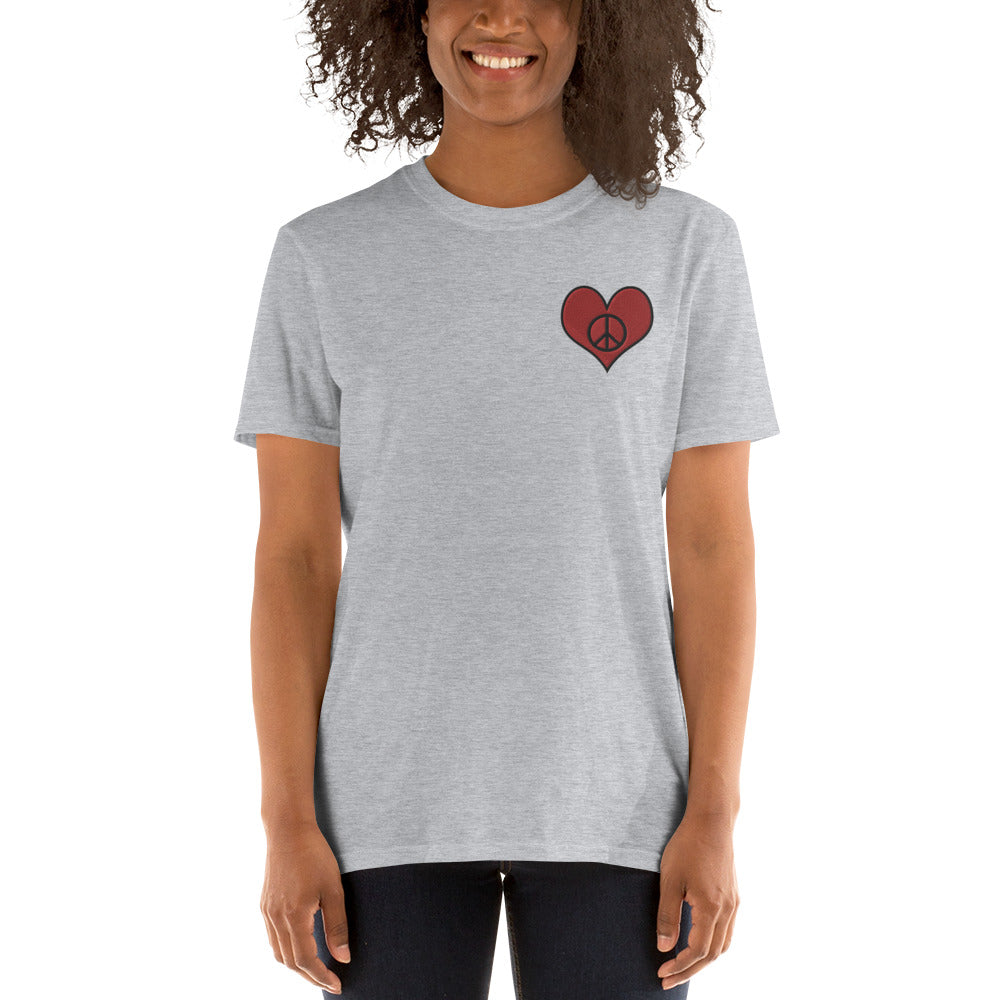 Gray Love & Peace Embroidered T-Shirt for Women
