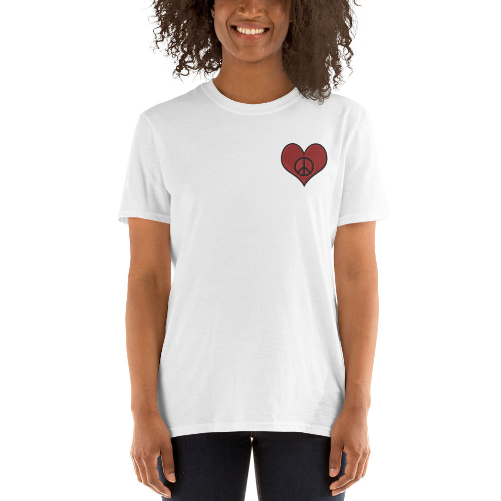 Lavender Love & Peace Embroidered T-Shirt for Women