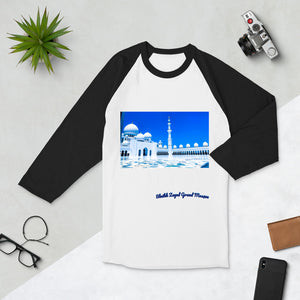 Royal Blue Men's Sheikh Zayed Grand Mosque 3/4 Sleeve Raglan Shirt