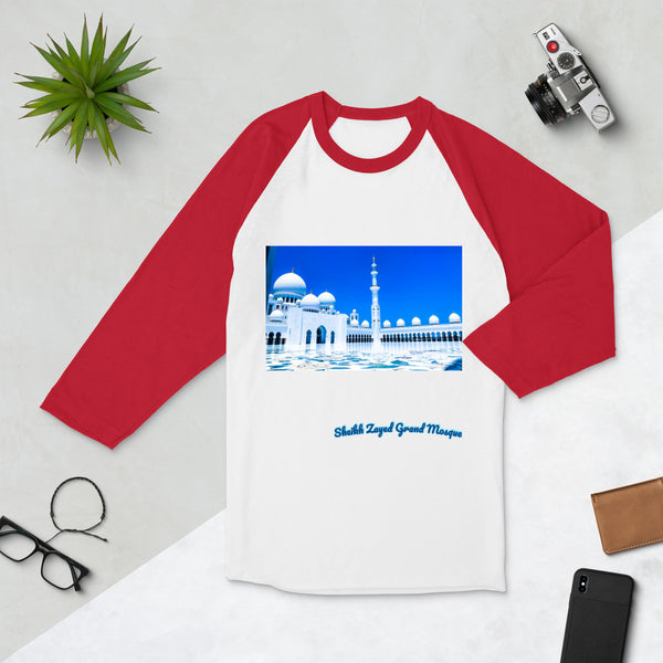 Firebrick Women's Sheikh Zayed Grand Mosque 3/4 Sleeve Raglan Shirt
