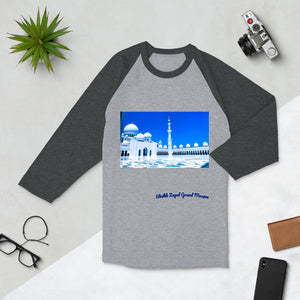 Dodger Blue Men's Sheikh Zayed Grand Mosque 3/4 Sleeve Raglan Shirt