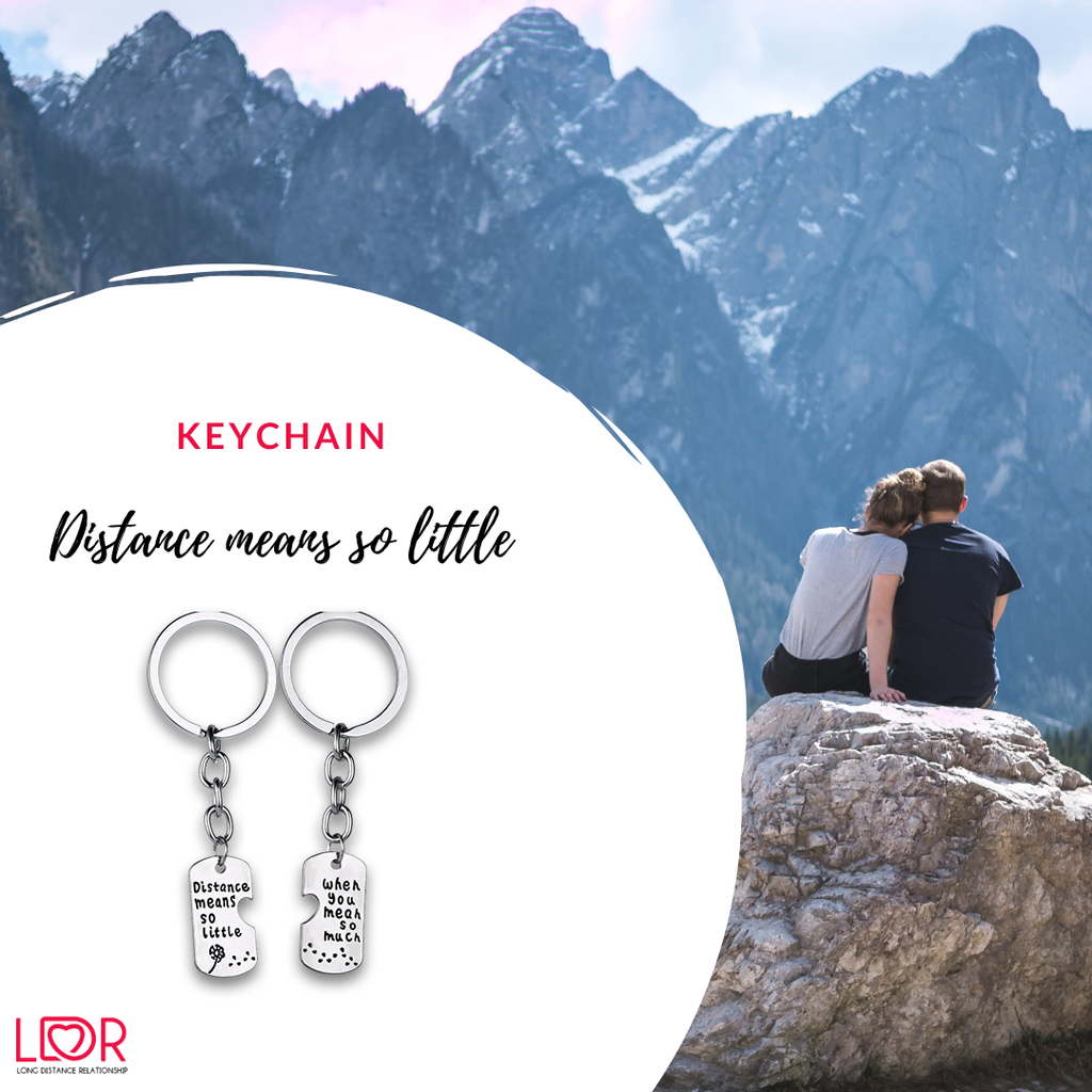 Distance means so little keychaing for couples in a relationship
