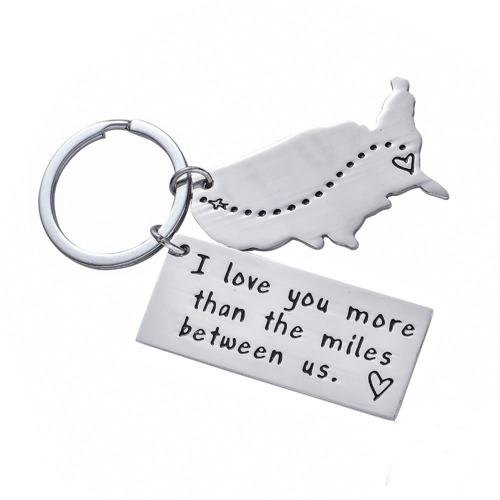 LDR Couple Keychain with USA map for long distance relationship couples