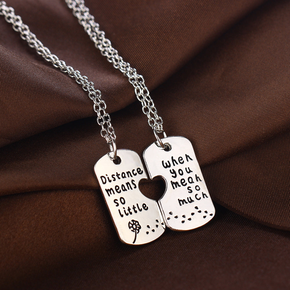 Distance Means so Little Necklace Pair - LDR Couples