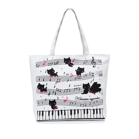 Musi-kitty Printed Shopping Bag - Bflat Cat Store