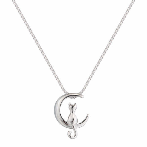 Moon and Cat Necklace - Bflat Cat Store