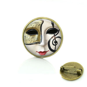 Handmade Music Mask Broche - Bflat Cat Store