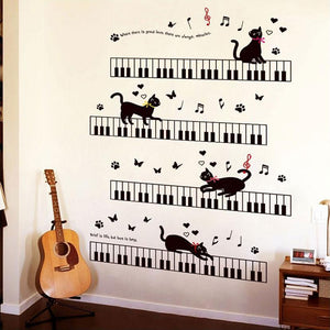 Musical Wall Stickers with Kittens - Bflat Cat Store