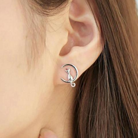 Moon and Cat Earrings - Bflat Cat Store