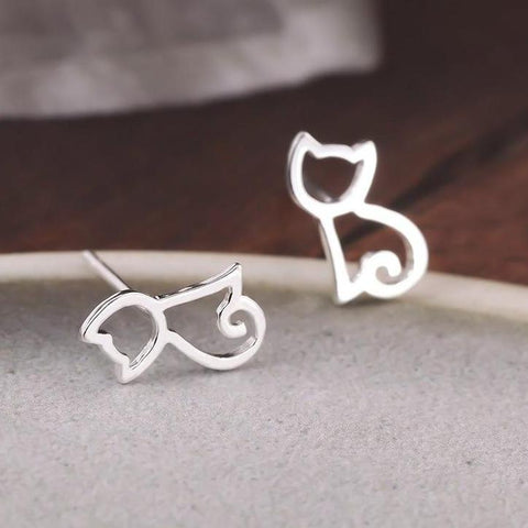 CuteCat Earrings - Silver and Purrfect - Bflat Cat Store