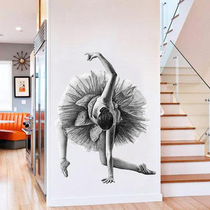 Flowing Ballerina Black and White Wall Decal - Bflat Cat Store